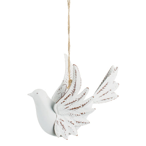 White Metal Dove Ornament