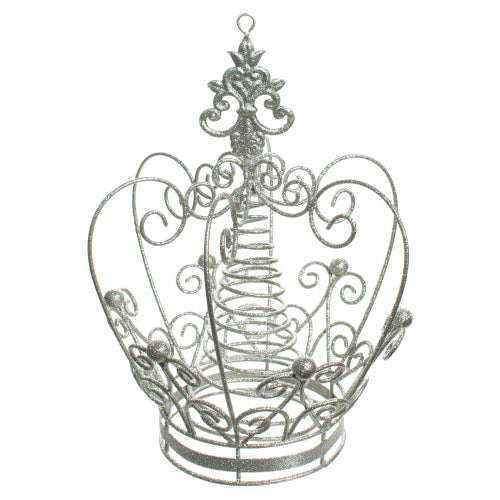 Silver Glittered Metal Crown Christmas Tree topper | Putti Christmas Canada
