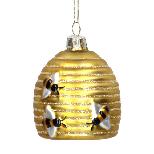 Bee Hive Glass Ornament | Putti Decorations Canada