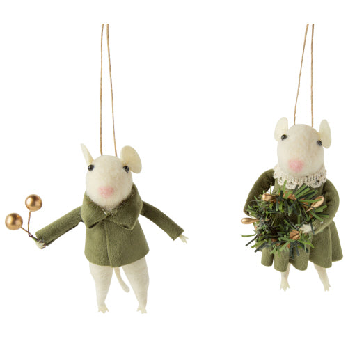 Felt Boy Mouse in Green Velvet Dress Ornament