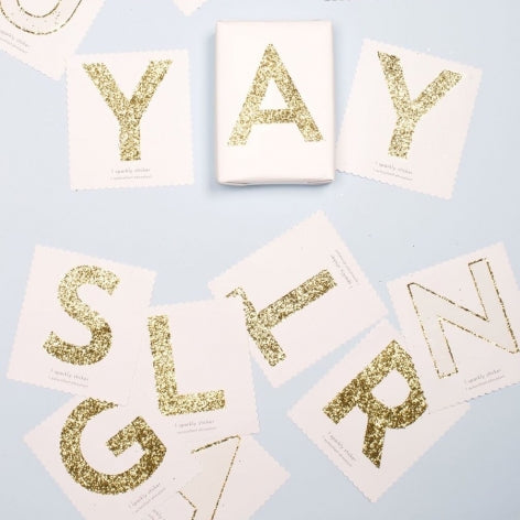Chunky Gold Glitter E Sticker