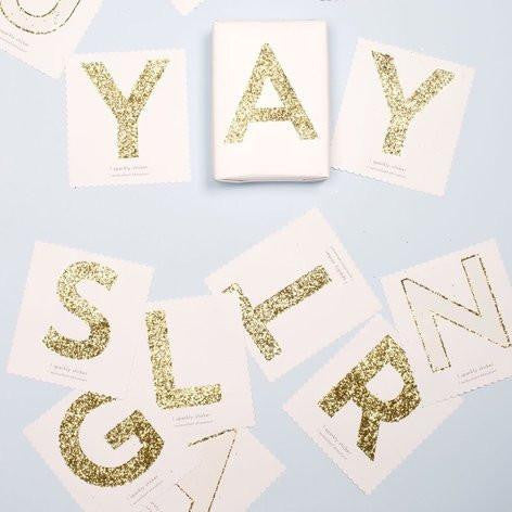 Chunky Gold Glitter A Sticker