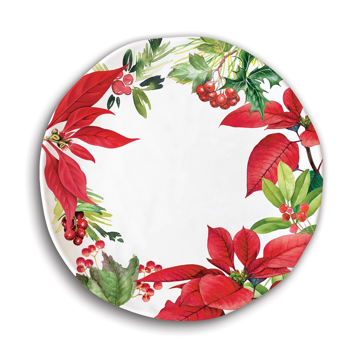 Michel Design Works Poinsettia Melamine Plate | Putti Christmas