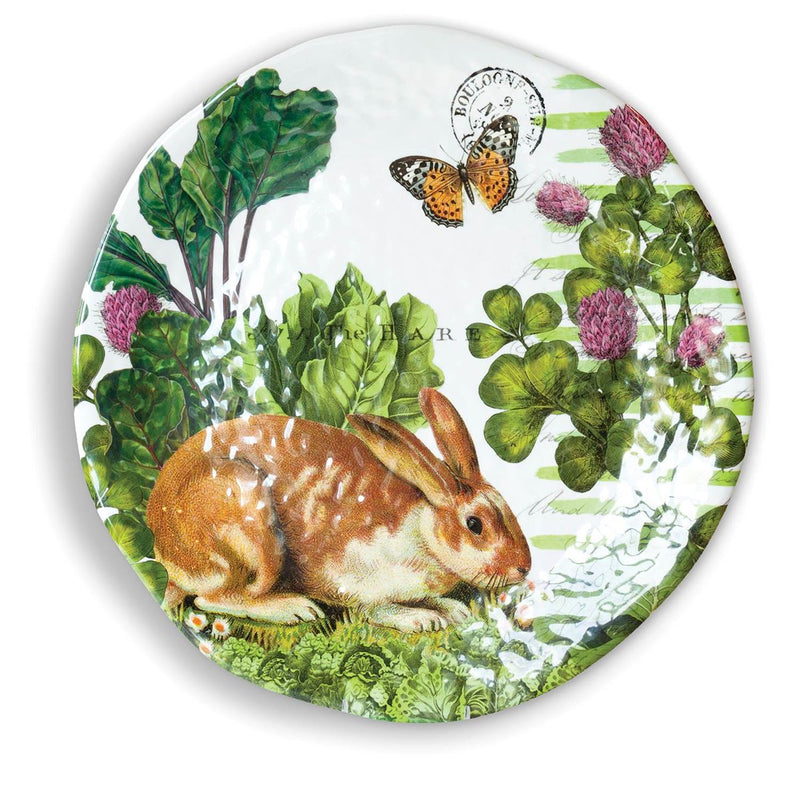 Michel Design Works Garden Bunny Large Round Melamine Platter  | Putti Fine Furnishings