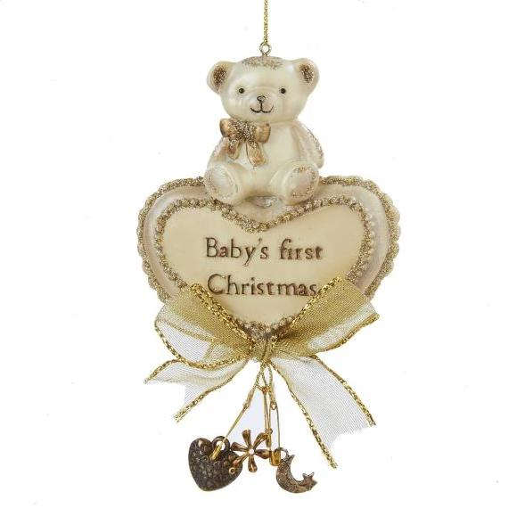 "Kurt Adler ""Baby's First Christmas"" Teddy Bear Ornament 