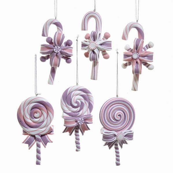 Kurt Pastel Candy Cane and Lolly Pop Ornaments