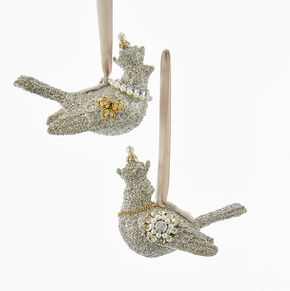 Vintage Glamour Platinum Glass Glitter Dove Ornament, KA-Kurt Adler - Candym, Putti Fine Furnishings