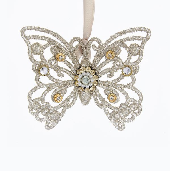 Vintage Glamour Platinum Glass Glitter Butterfly Ornament