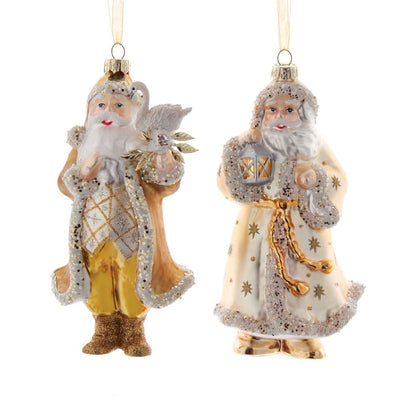 Gold and Ivory Santa with Swan Glass Ornament |  Putti Christmas