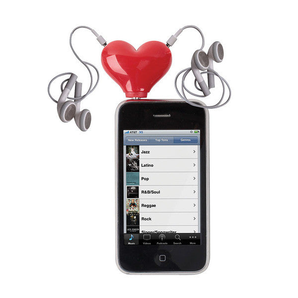 """Tunes for Two"" Heart Headphone Splitter, DCI, Putti Fine Furnishings"