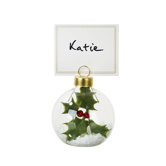 Botanical Holly Bauble Placecard Holder | Putti Christmas