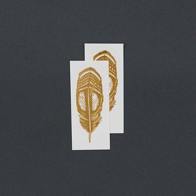 Tattly Temporary Tattoos - Gold Quail Feather, TTT- Tattly Temporary Tattoos, Putti Fine Furnishings