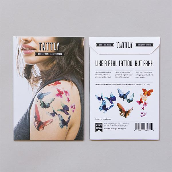 Tattly Temporary Tattoos - Watercolor Butterfly Set, TTT- Tattly Temporary Tattoos, Putti Fine Furnishings