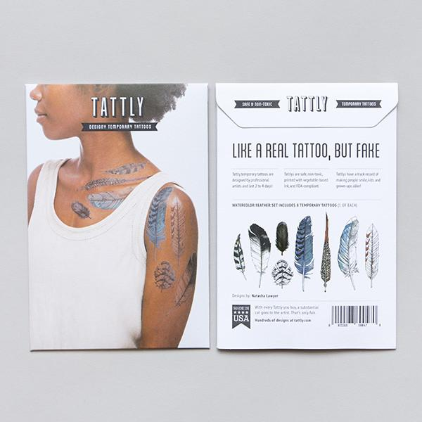 Tattly Temporary Tattoos - Watercolor Feather Set, TTT- Tattly Temporary Tattoos, Putti Fine Furnishings