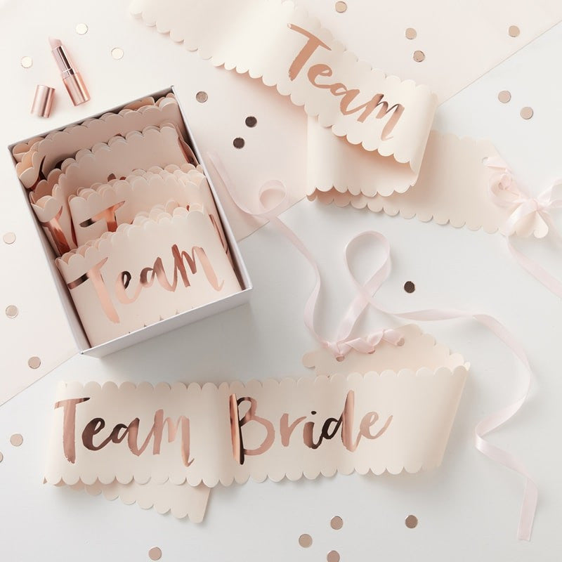 """Team Bride"" Pink And Rose Gold ""Team Bride"" Sash, GR-Ginger Ray UK, Putti Fine Furnishings"