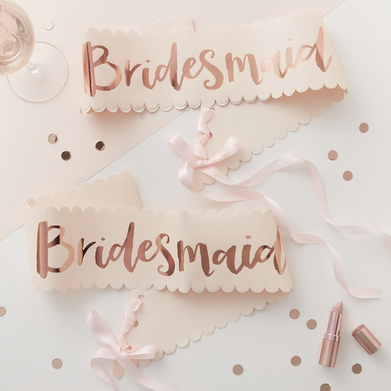 """Team Bride"" Pink And Rose Gold ""Bridesmaid"" Sash, GR-Ginger Ray UK, Putti Fine Furnishings"