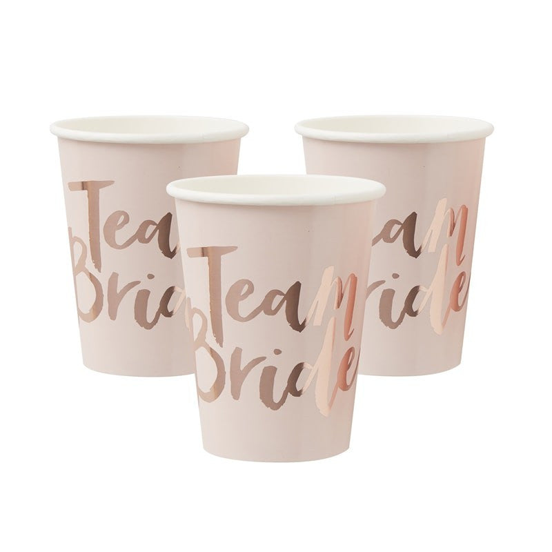 """Team Bride"" Blush Pink & Rose Gold Paper Cups"