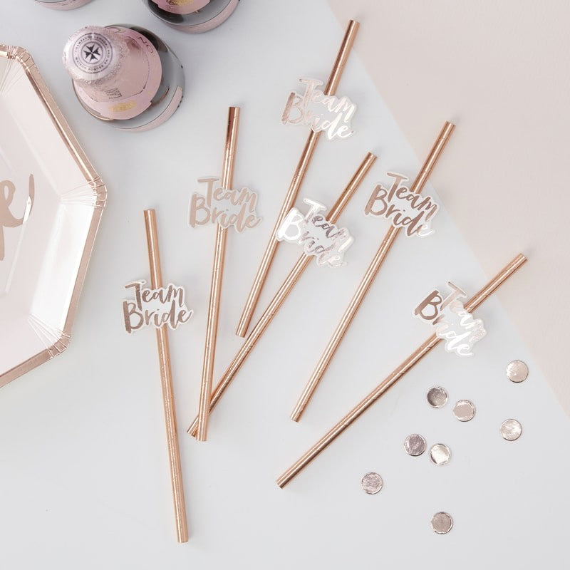 "Rose Gold ""Team Bride"" Foiled Paper Straws"