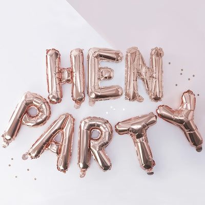 "Rose Gold ""Hen Party"" Balloon Banner"