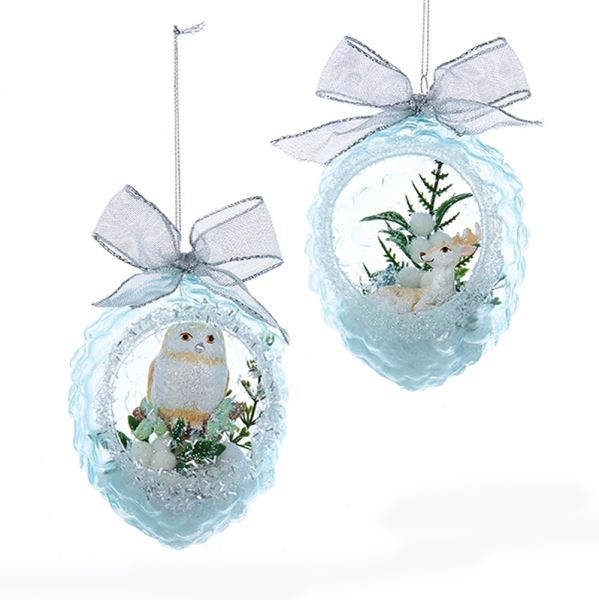Kurt Adler Owl and Reindeer Pinecone Glass Ornaments