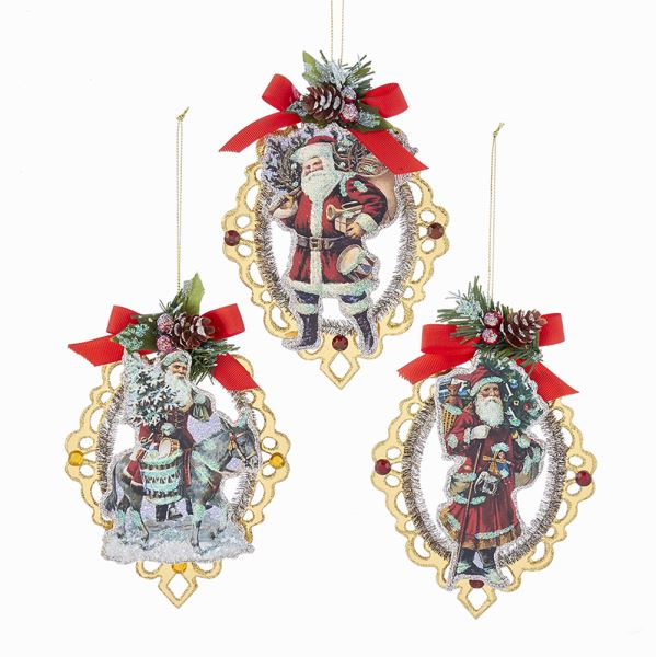 Vintage Santa Scroll With Red Bow and Pinecone Ornaments | Putti Christmas