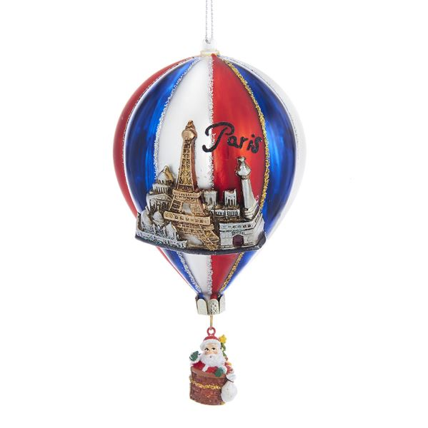 Kurt Adler Paris Attractions Hot Air Balloon Glass Ornament