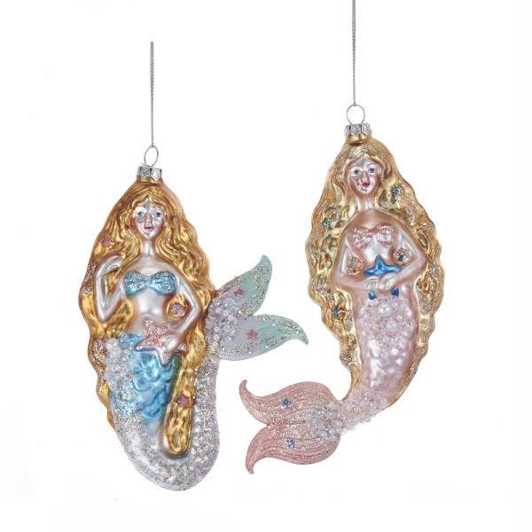 Kurt Adler Pink and Blue Glass Mermaid Ornaments | Putti Christmas Canada