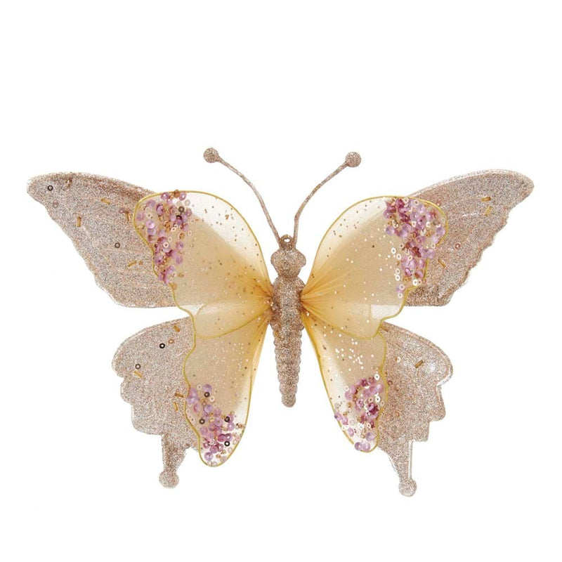 Pink and Gold Butterfly with Clip Ornament | Putti Christmas