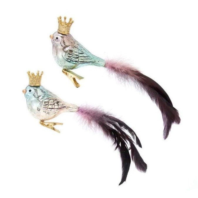 Kurt Adler Glass Bird With Crown Clip-On Ornaments | Putti Christmas Canada