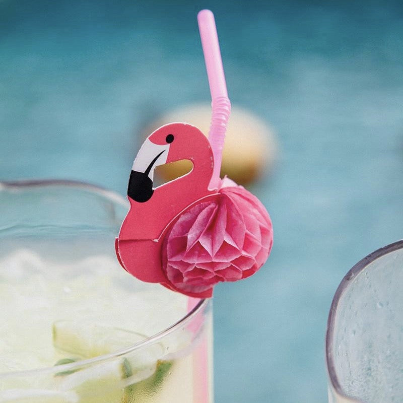 Happy Hour Pink Flamingo Honeycomb Rretro Straws