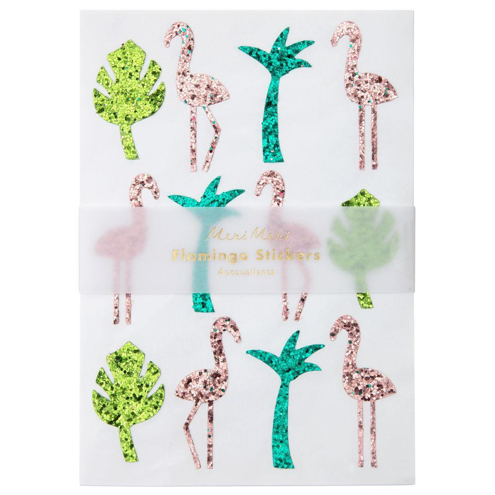 Meri Meri Glitter Flamingo Palm Sticker Sheets | Le Petite Putti