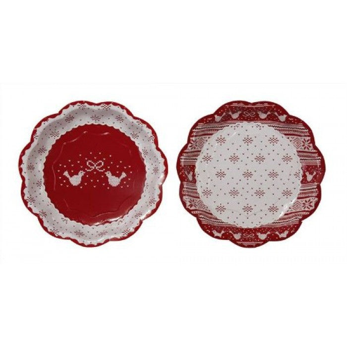 "Red & White ""Knitted Noel"" Christmas Paper Plate, TT-Talking Tables, Putti Fine Furnishings"