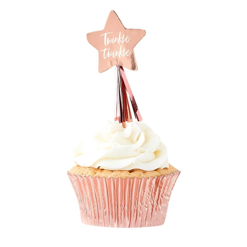 "Rose Gold ""Twinkle Twinkle"" Cup Cake Toppers 