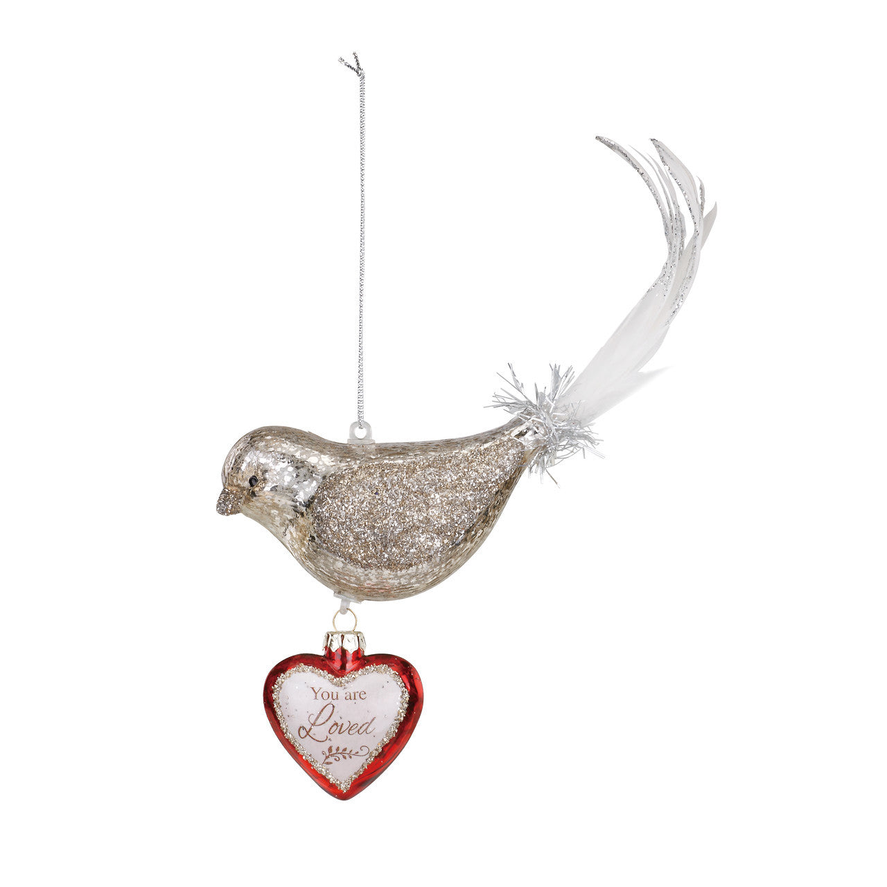Demdaco Bird Dangle Heart Glass Ornament - Loved | Putti Christmas