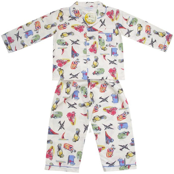 Daniel Vintage Transport Pyjamas-Nightwear-PC-Powell Craft Uk-Age 1-2 (Special Order 2 weeks)-Putti Fine Furnishings