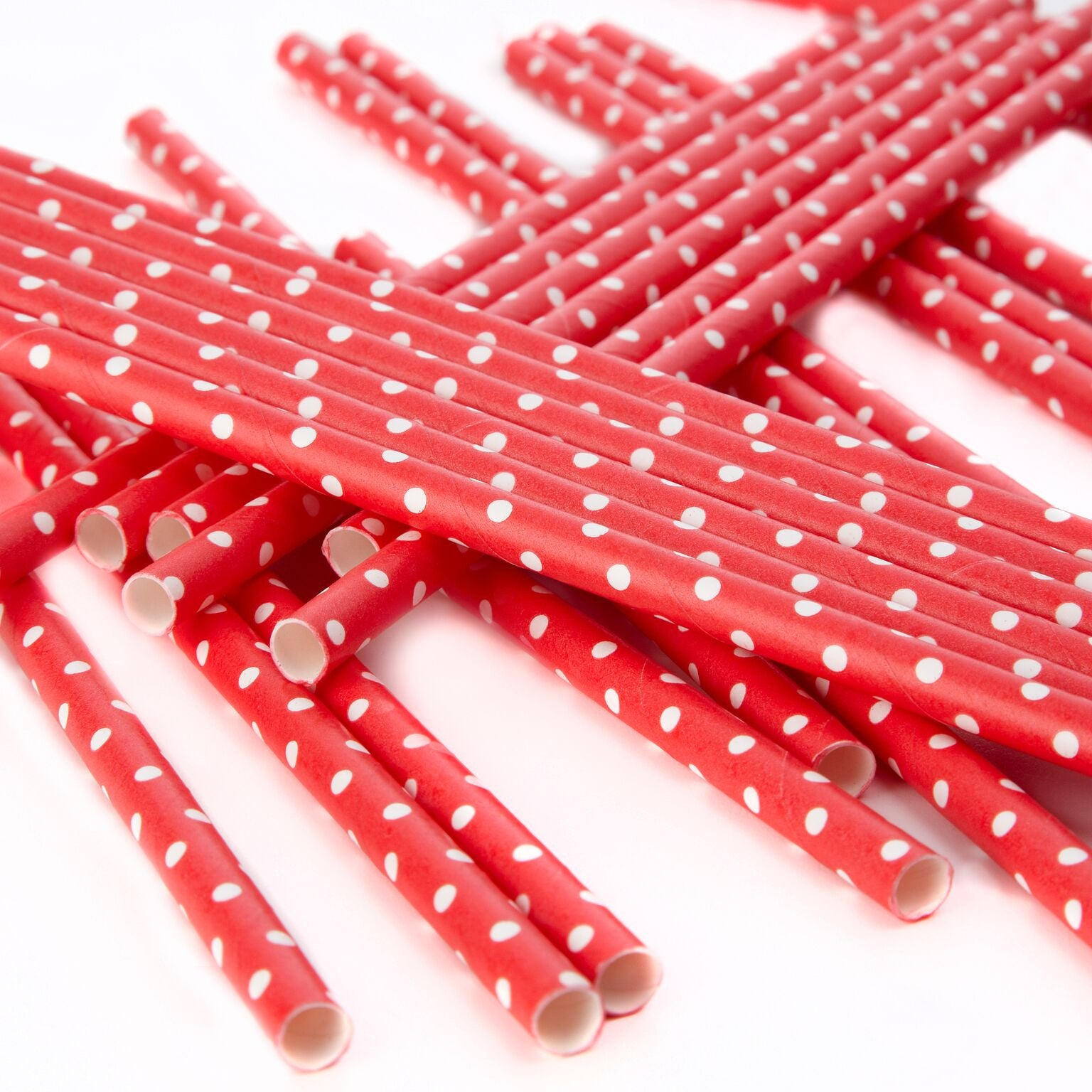 Polka Dot Paper Straws - Red and White