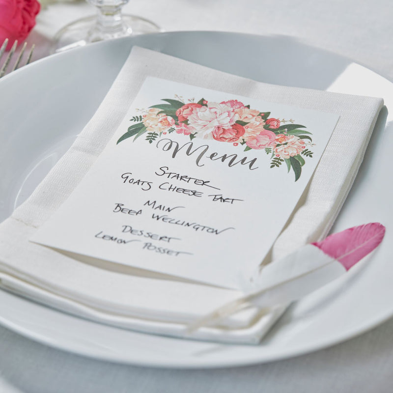 """Boho"" Floral Menu Cards, GR-Ginger Ray UK, Putti Fine Furnishings"
