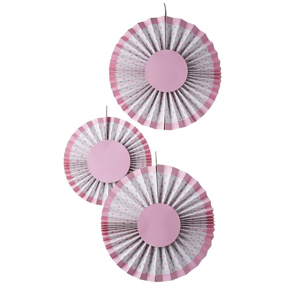 Little Lady or A Mini Mister Pink Fan Decorations