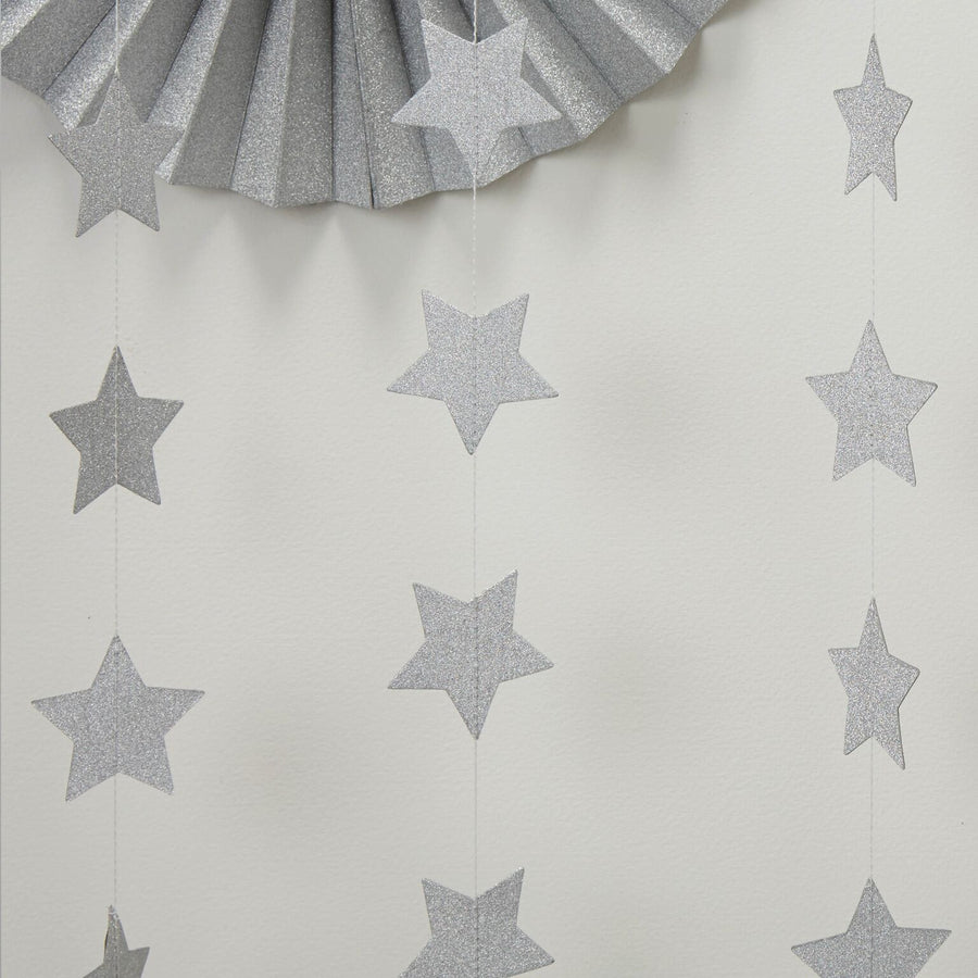 Silver Glitter Star Garland, GR-Ginger Ray UK, Putti Fine Furnishings
