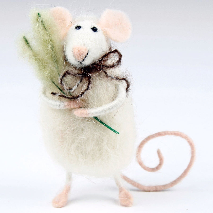 """Fat Mouse with Grass"" Felted Ornament"