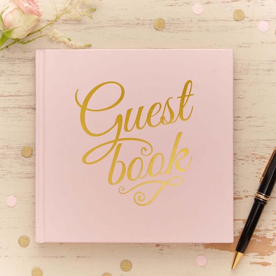 Gold Foiled Guest Book - Blush Pink, GR-Ginger Ray UK, Putti Fine Furnishings
