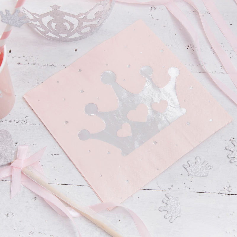 """Princess Perfection"" Silver Crown Paper Napkin - Lunch, GR-Ginger Ray UK, Putti Fine Furnishings"