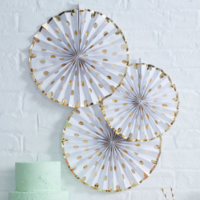 Polka Dot Paper Fan Decoration - Gold Foil, GR-Ginger Ray UK, Putti Fine Furnishings