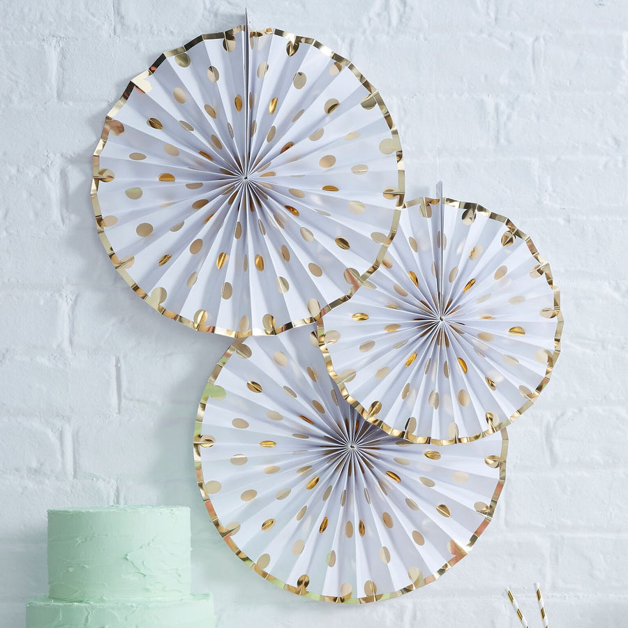 Polka Dot Paper Fan Decoration - Gold Foil