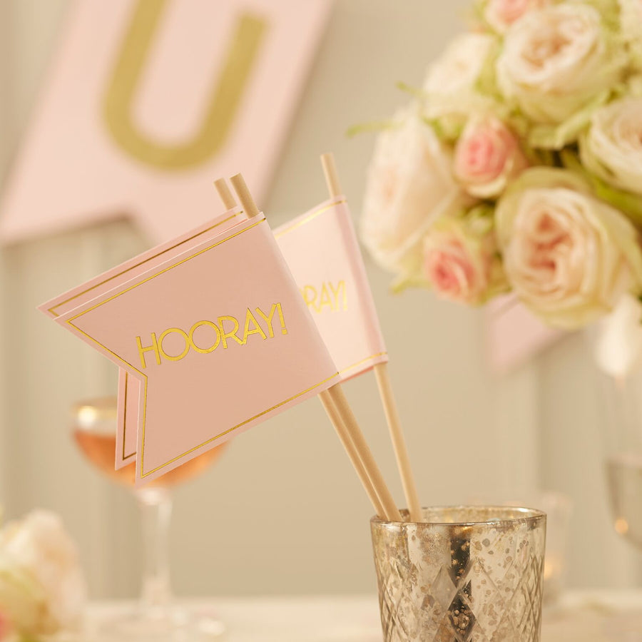 Wedding Flags - Pink and Metallic Gold