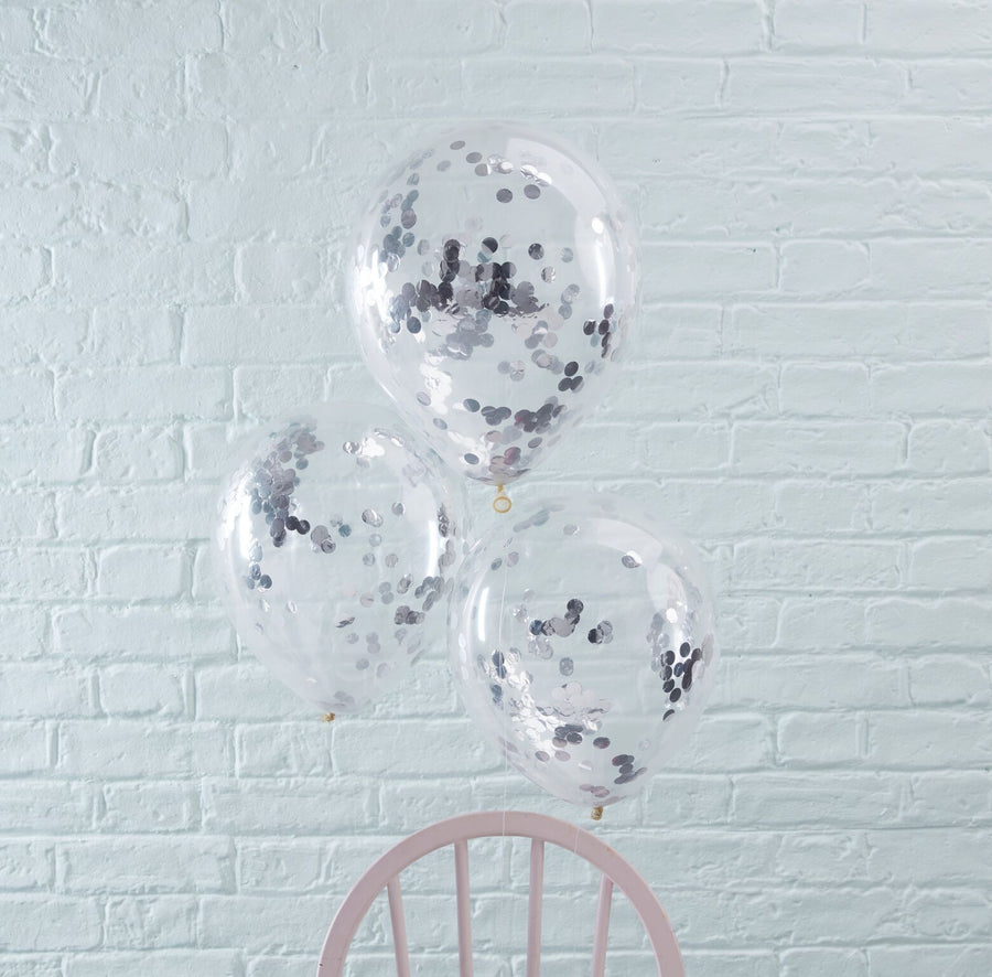Silver Confetti Filled Balloons, GR-Ginger Ray UK, Putti Fine Furnishings