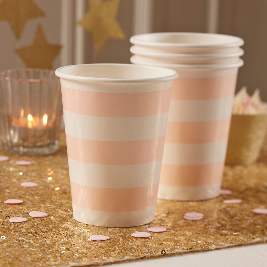 Blush Pink Stripes - Paper Cups -  Party Supplies - Ginger Ray UK - Putti Fine Furnishings Toronto Canada - 1