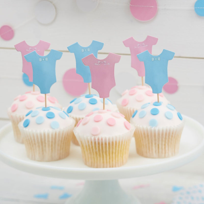 Pink and Blue Baby Grow Cup Cake Toppers, GR-Ginger Ray UK, Putti Fine Furnishings