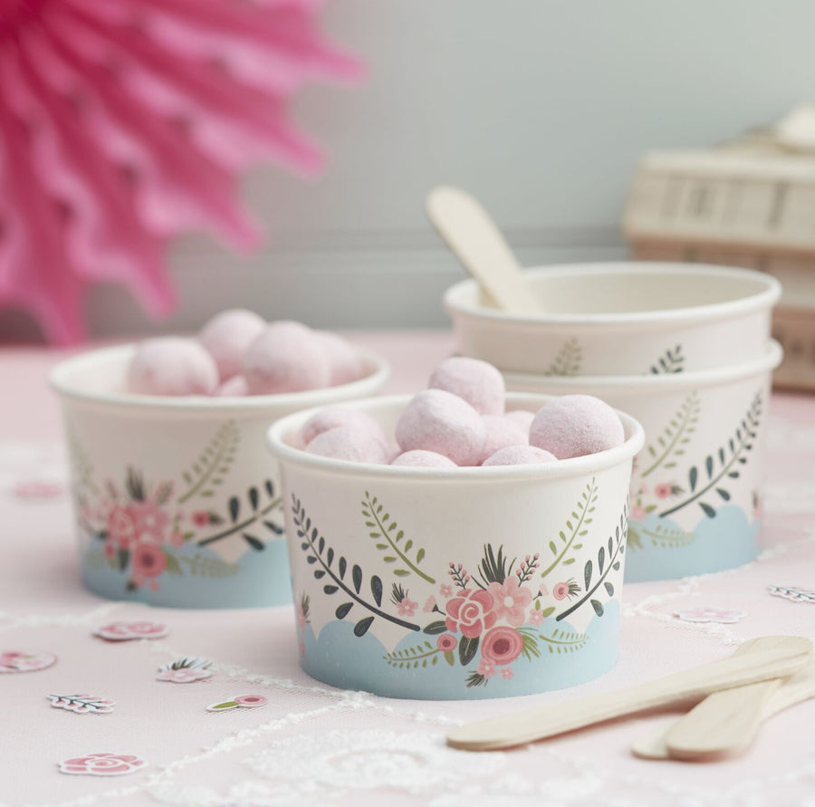 """Floral Fancy"" Ice Cream Cups with Spoons"
