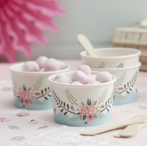 """Floral Fancy"" Ice Cream Cups with Spoons-Party Supplies-GR-Ginger Ray UK-Putti Fine Furnishings"